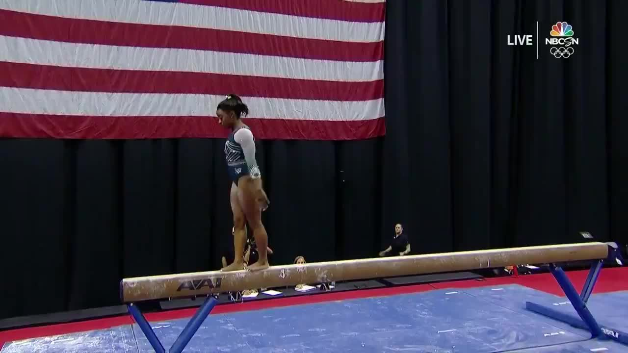bleacher report, gymnast, gymnastics, simone biles, Bleacher Report - Simone Biles is the first person EVER to land a dismount with two flips and two twists 👏  (via @NBCOlympics) GIFs
