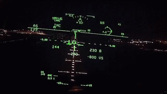 aviationgifs, 737-800 ILS landing with HUD GIFs
