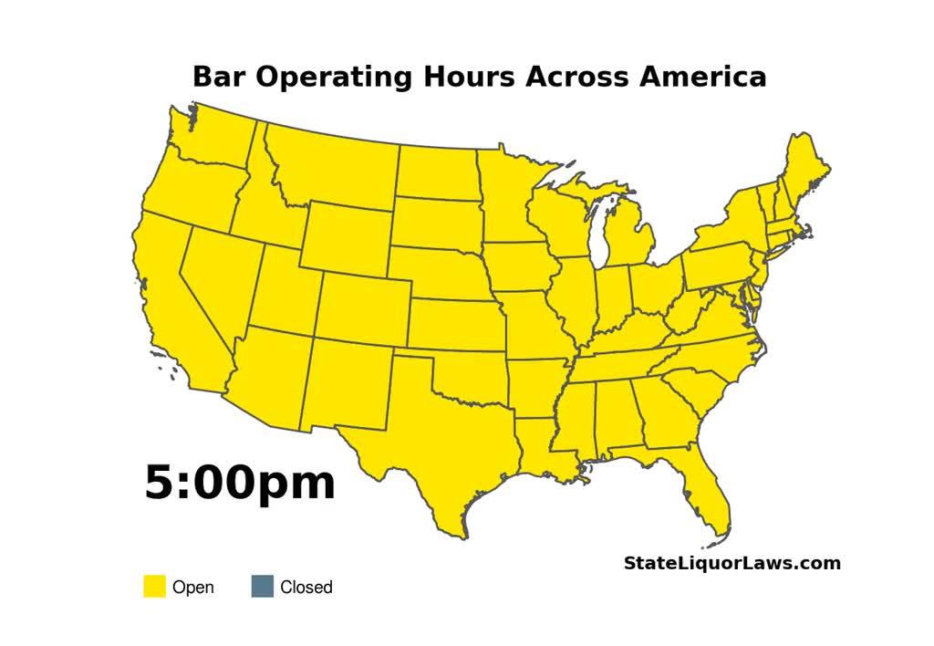 Bar opening closing times across the United States [OC] - dataisbeautiful GIFs