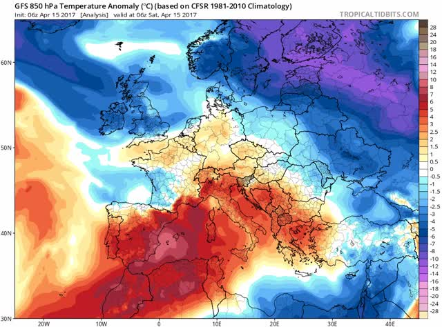 GFS 850 hPa - Temperature anomaly - Europe - April 2017