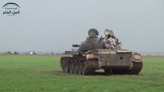 T-55 firing on ISIS positions in Syria  (reddit) GIF by (@forte3