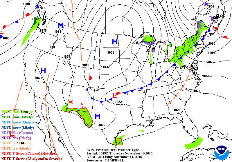 Animation of cold front swinging across the eastern U.S. on Friday ...