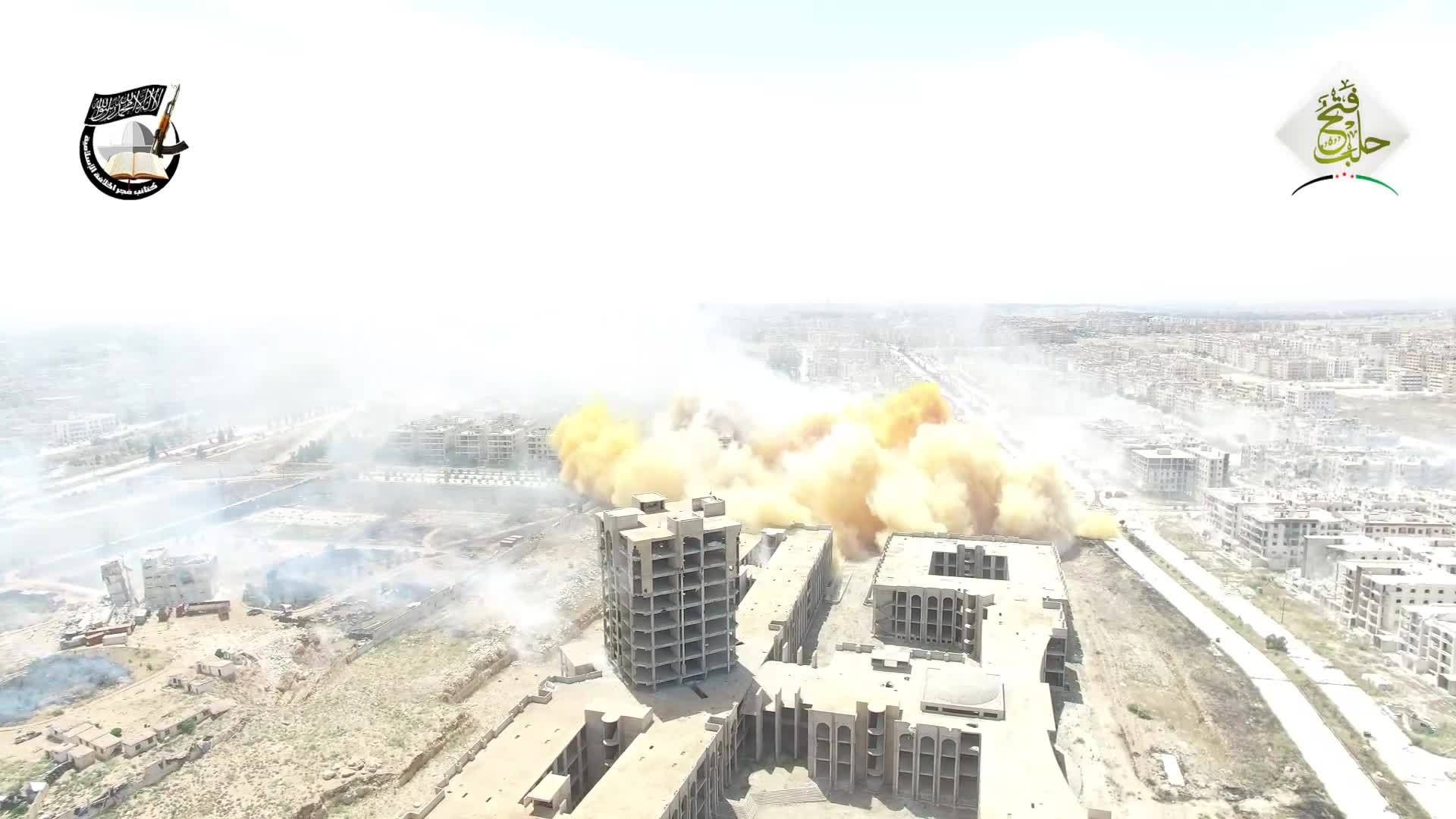 MilitaryGfys, worldnews, Hell canon round flies by drone as it films a tunnel bomb in aleppo GIFs