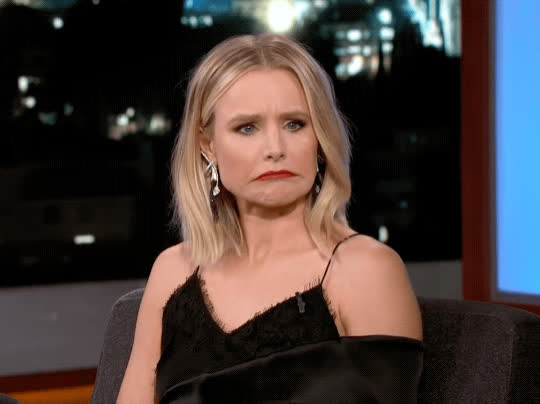 awkward, confused, idk, jimmy kimmel live, kristen bell, oops, shrug, yikes, Kristen Bell Confused GIFs