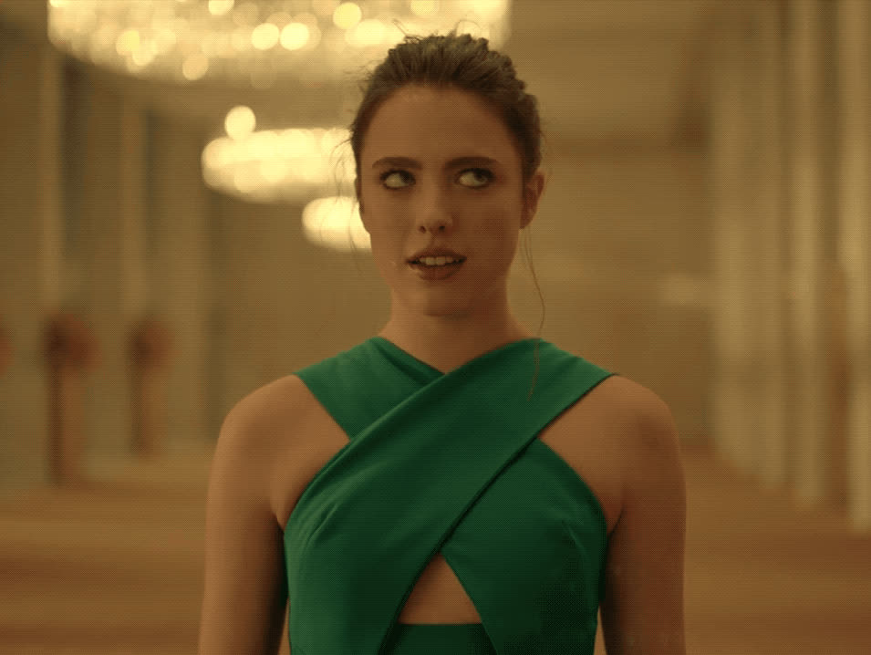 Margaret Qualley, confused, silly, weird, wink, Margaret Qualley Confused Wink GIFs