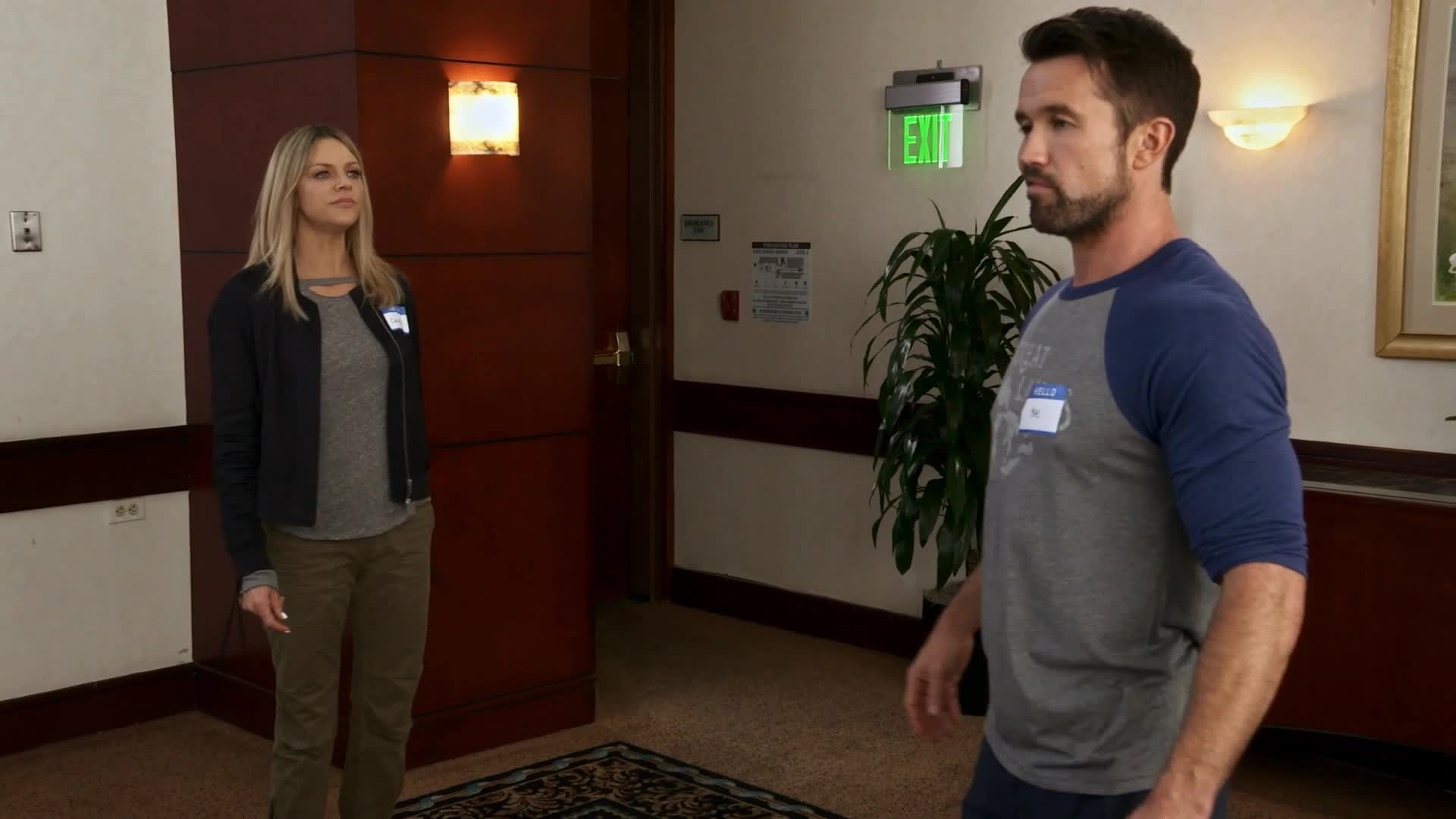 always sunny, always sunny in philadelphia, course, dee, gang, iasip, it's always sunny in philadelphia, its always sunny in philadelphia, kaitlin olson, mac, meeting, rob mcelhenney, sexual assault, surprise, time's up, vagina, It's Always Sunny in Philadelphia: Mac Lifts Dee by Her Crutch GIFs