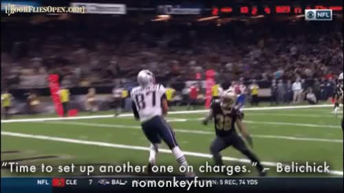 """Watch """"'Time to set up another one on charges.' - Belichick"""" - nomonkeyfun GIF by Unsurprised (@unsurprised) on Gfycat. Discover more 2, 2017 season, 2017 season week 2, bill belichick, dfo, door flies open, doorfliesopen, doorfliesopen.com, football, new england patriots, new orleans saints, nfl, patriots, pats, quotables, roger goodell is a national disgrace, roger goodell is a national disgracefootball, saints, tom brady, week 2 GIFs on Gfycat"""