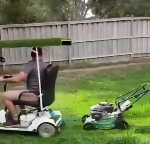 Watch and share A Genius Way To Mow Your Lawn GIFs by KSG on Gfycat