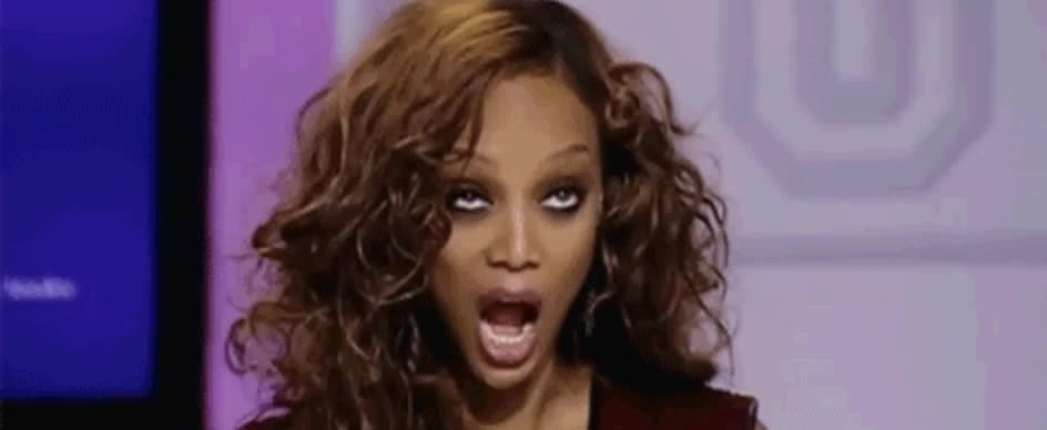 arr, funny, no words, tyra banks, weird, wtf, Tyra Banks Weird Face GIFs