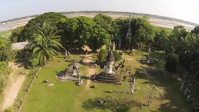 Drone Flight: Vientiane, Laos: Mekong River and Buddha Park