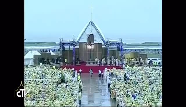 Watch Mass with Pope Francis from Tacloban City with survivors of Typhoon Yolanda 17 January 2015 GIF on Gfycat. Discover more related GIFs on Gfycat