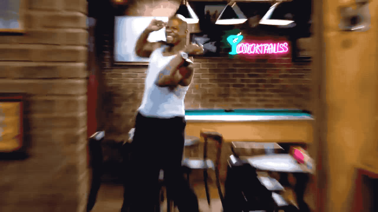 99, brooklyn, celebrate, dance, excited, happy, nine, terry, woohoo, Brooklyn 99 - Terry is excited GIFs