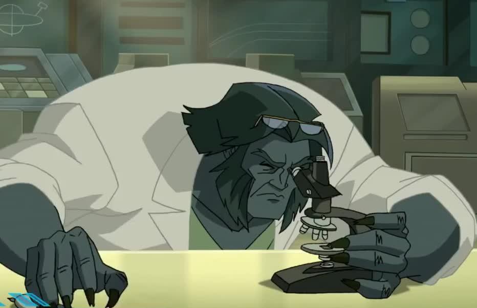 beast, better, chemistry, closer, experiment, lab, look, observe, science, scientist, x men, x-men, xmen, Evolution of the Beast in cartoons GIFs