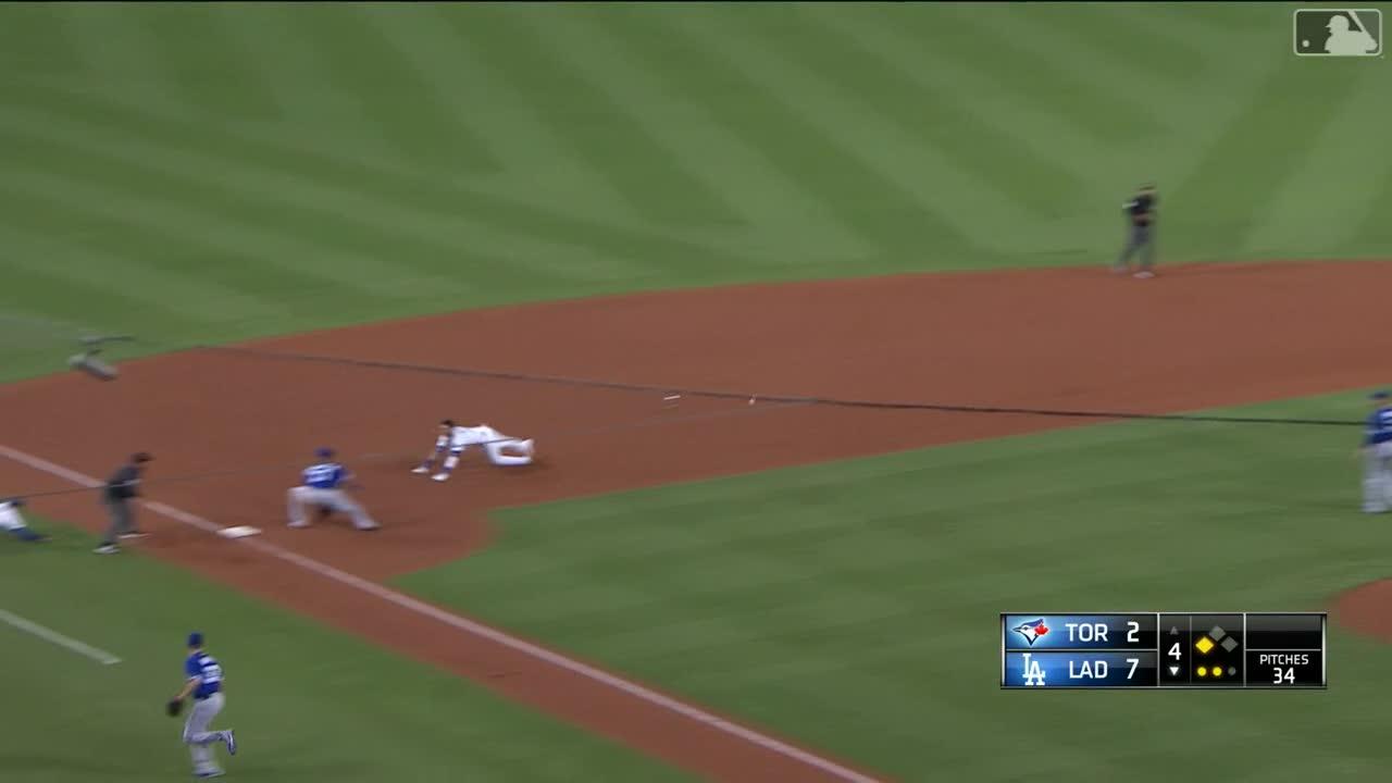 baseball, blue jays, dodgers, los angeles dodgers, toronto blue jays, cody bellinger loses pants on headfirst slide GIFs