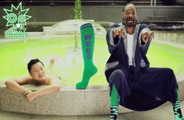 """Watch and share GP WEED Socks! Not Only Mentioned In The Article, But Can Also Be Seen Worn By Snoop Dogg In Psy's Music Video """"Hangover"""". GIFs on Gfycat"""