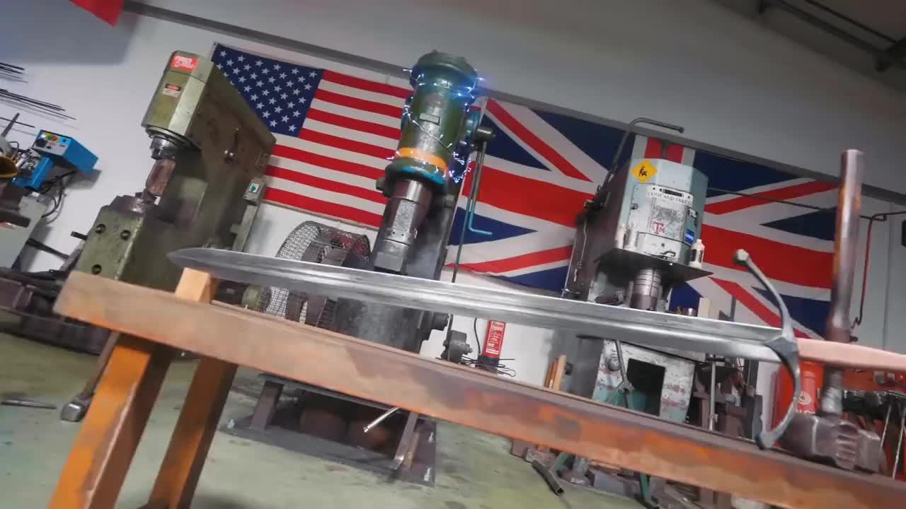 Blade, Engineering, Forge, MIG, Mill, Steel, Sword, blacksmith, blacksmithing, bladesmithing, damascus, diy, fabrication, knifemaking, lathe, ll Tags, make, tig, weld, woodworking, MAKING A SCOTTISH CLAYMORE SWORD!!! PART 14 - FINISHED GIFs
