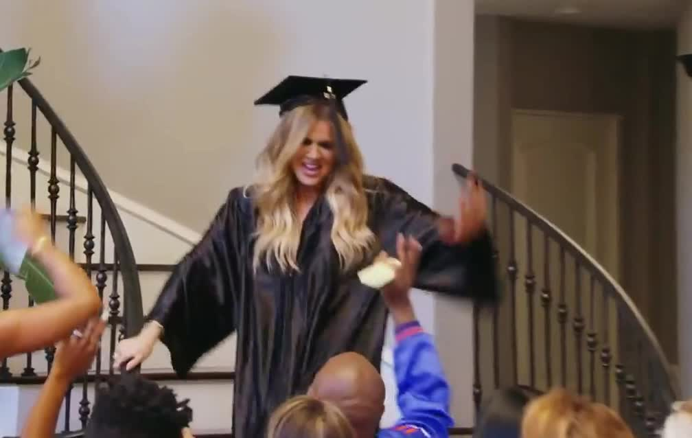 awesome, celebrate, five, graduate, graduation, great, happy, high, high5, kardashians, keeping, made, party, perfect, the, up, we, with, wow, yes, Surprise Graduation Party! | Keeping Up With The Kardashians GIFs
