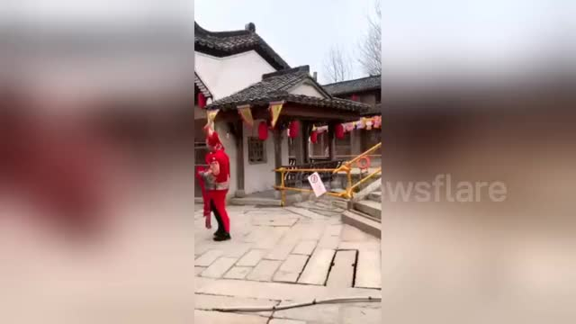 Watch and share Newsflare - Woman Tumbles Out Of Sedan Chair Going Downhill Over Bridge GIFs by st0rmfury on Gfycat