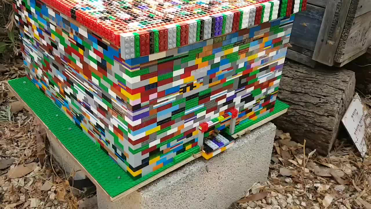 A fully working Langstroth beehive built from Lego bricks by Boaz Ben Zeev GIFs