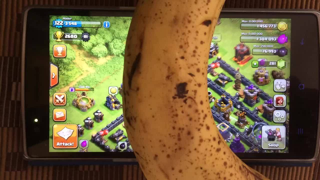 clashofclans, [MISC] Banana Test. It works! Almost bought me a shield though. Damn Gravity! (reddit) GIFs