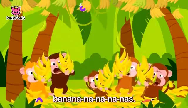 Watch and share Monkey Bananas   Animal Songs   PINKFONG Songs For Children GIFs on Gfycat