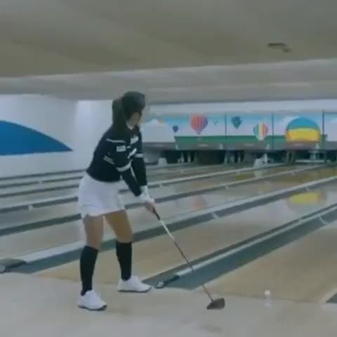 Watch and share Golfer Minju Kim Scores Amazing Strike At Bowling Alley, Using Just A Golf Ball And Her Driver GIFs on Gfycat