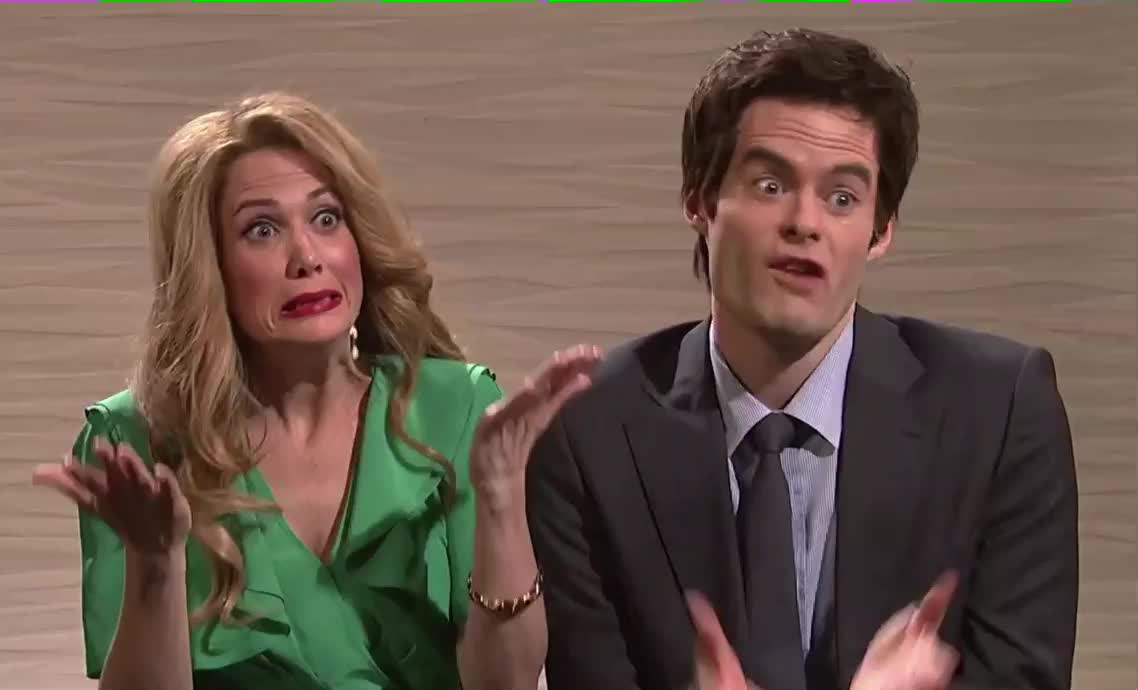 bill hader, confused, dish, funny, hmm, hollywood, not, snl, so, sure, Hollywood Dish: Saturday Night Live GIFs