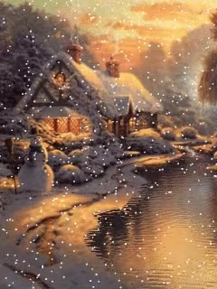 Watch and share Download Animated 240x320 «Winter Evening» Cell Phone Wallpaper. Category: Nature GIFs on Gfycat