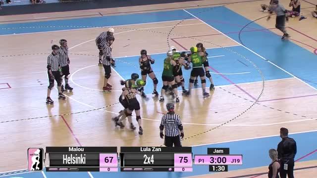 Watch 2018 WFTDA Playoffs - A Coruña Game 14: Helsinki Roller Derby v 2x4 Roller Derby GIF on Gfycat. Discover more Derby, Rollerderby, WFTDA, Womens, association, basketball, flat, roller, track, wftdatv, women GIFs on Gfycat
