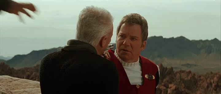 captain kirk, captain picard, generations, james t. kirk, jean-luc picard, kirk-fu, star trek, star trek: generations, Some old-fashioned Kirk-Fu GIFs