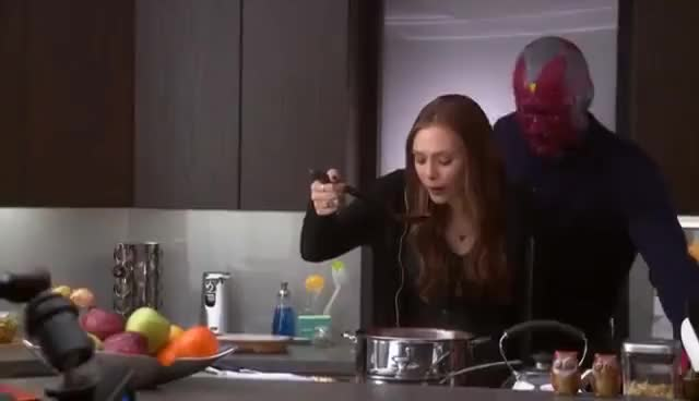 Watch this scarlet witch GIF on Gfycat. Discover more elizabeth olsen, paul bettany, scarlet witch, the vision, vision, wanda maximoff GIFs on Gfycat
