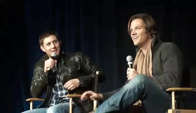 Watch SFCon 2011 GIF on Gfycat. Discover more Jared padalecki, Jensen Ackles, Supernatural GIFs on Gfycat