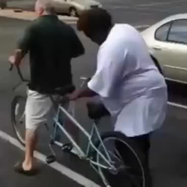 Watch and share Fat Man Bends Cycle Wheel GIFs on Gfycat