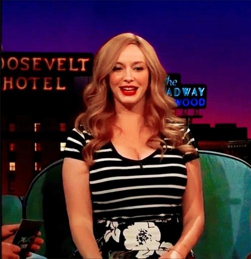 Boobs, ChristinaHendricks, Excited, Christina Hendricks Late Late Show Excited GIFs