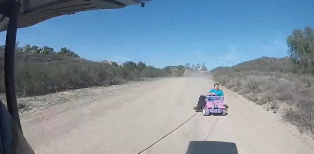 holdmybeer, HMB while I ride this children's toy car pulled by a rope GIFs