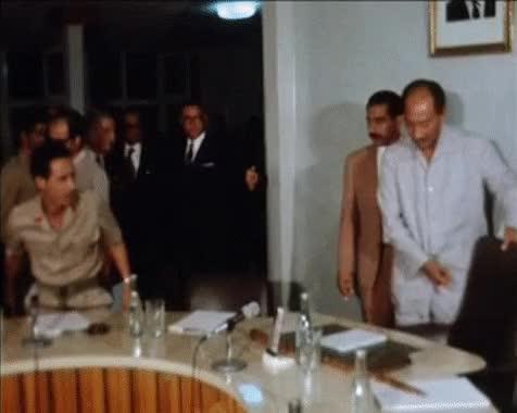 Watch Libyan leader Muammar Gaddafi and Egyptian President Anwar Sadat (Libya, Tripoli, 1973) GIF by @magentalux on Gfycat. Discover more egypt, gadaffi, gaddafi, kadafhi, libya, muammaar gaddafi, qaddafi, sadat GIFs on Gfycat
