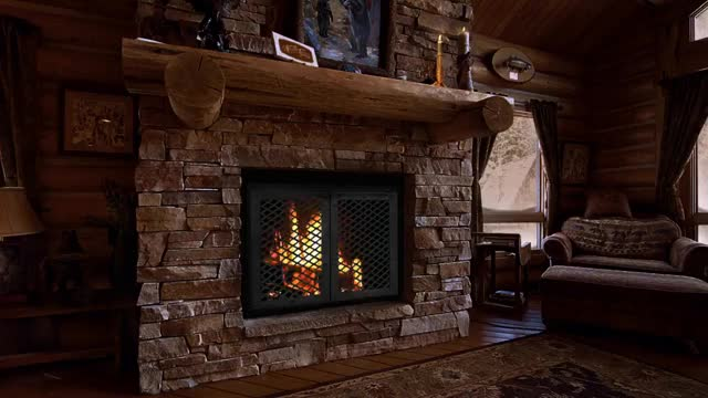 Watch and share Cozy Log Cabin - 9 HOURS Fireplace Crackling Sound And Window Snow Scene GIFs on Gfycat