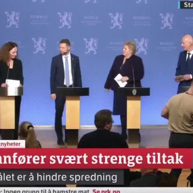 Watch and share Norwegian-prime-minister-and-minister-of-health-handshake-situation-after-corona-briefing GIFs by gifyes on Gfycat