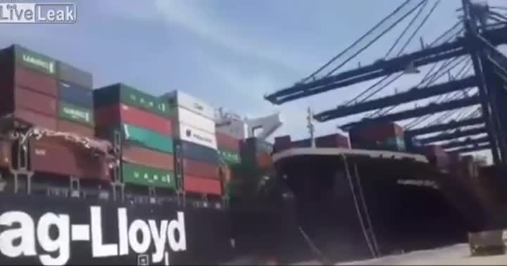 Cargo ship in Kemari Port in Karachi collides with another ship, spilling a bunch of containers into the ocean GIFs