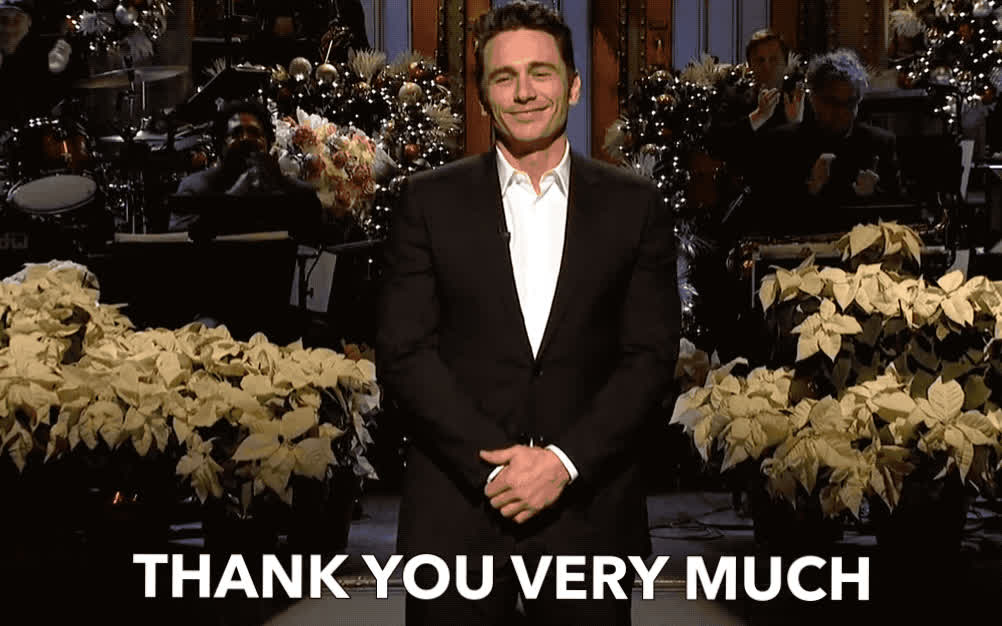 danke, franco, gracias, james, live, merci, monologue, much, night, saturday, snl, thank, thank you, thanks, very, you, JAMES FRANCO - THANK YOU GIFs