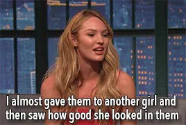 Watch and share Late Night With Seth Meyers GIFs and Candice Swanepoel GIFs on Gfycat