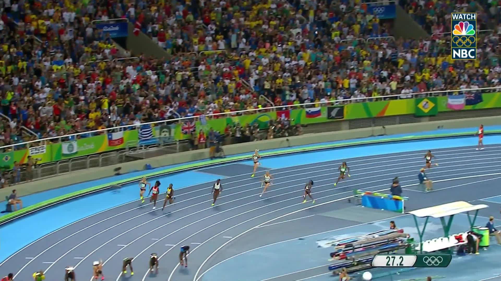 nbc sports, olymgifs, olympics, U.S. women's 4x100 relay team sprints to gold medal GIFs