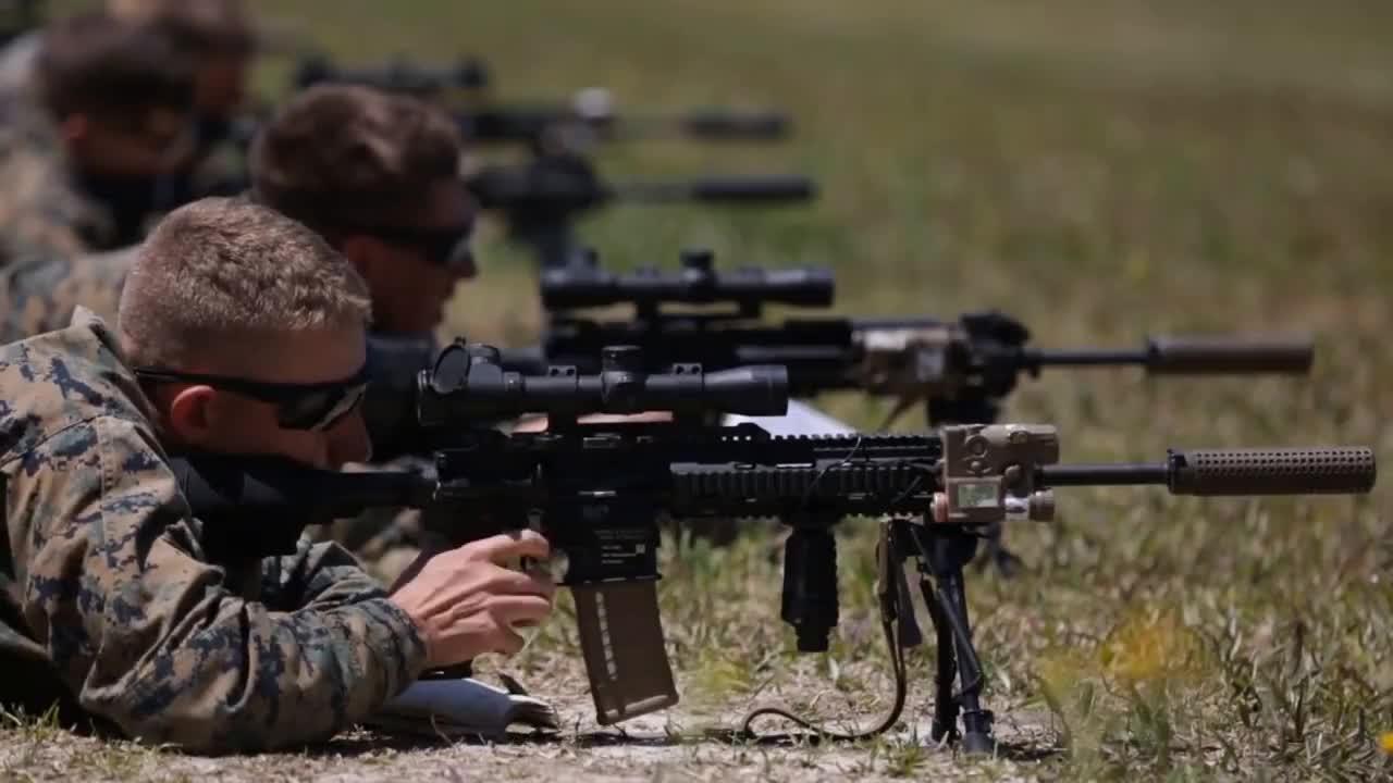 military, U.S. Marines Shoot The M38 Designated Marksman Rifle GIFs