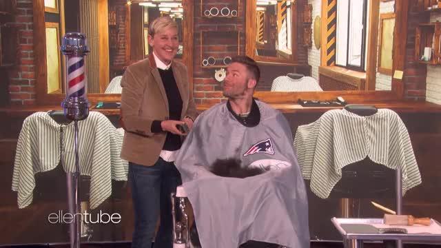 Extended Ellen Shaves Off Super Bowl Mvp Julian Edelman S Beard For Charity Gif