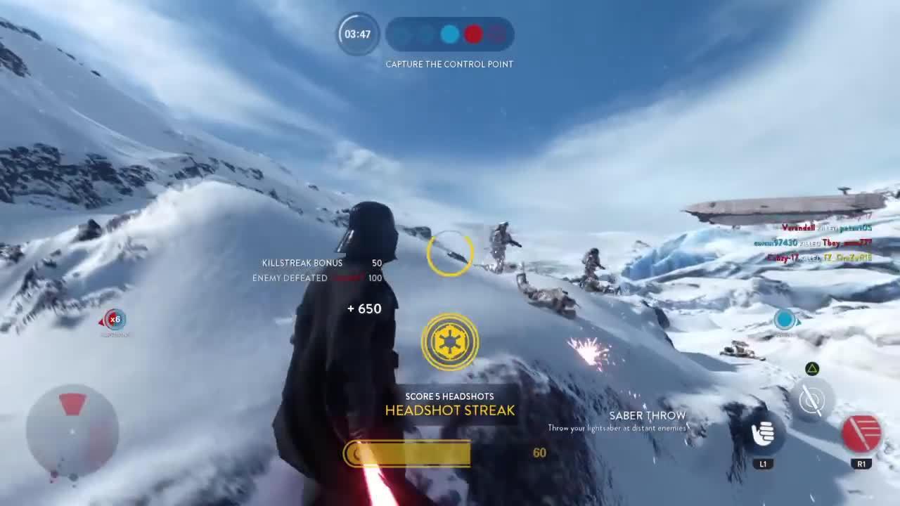 empiredidnothingwrong, sony computer entertainment, starwars, Star wars battlefront 45 killstreak with Vader+ Luke get rekt (new Hoth map) GIFs
