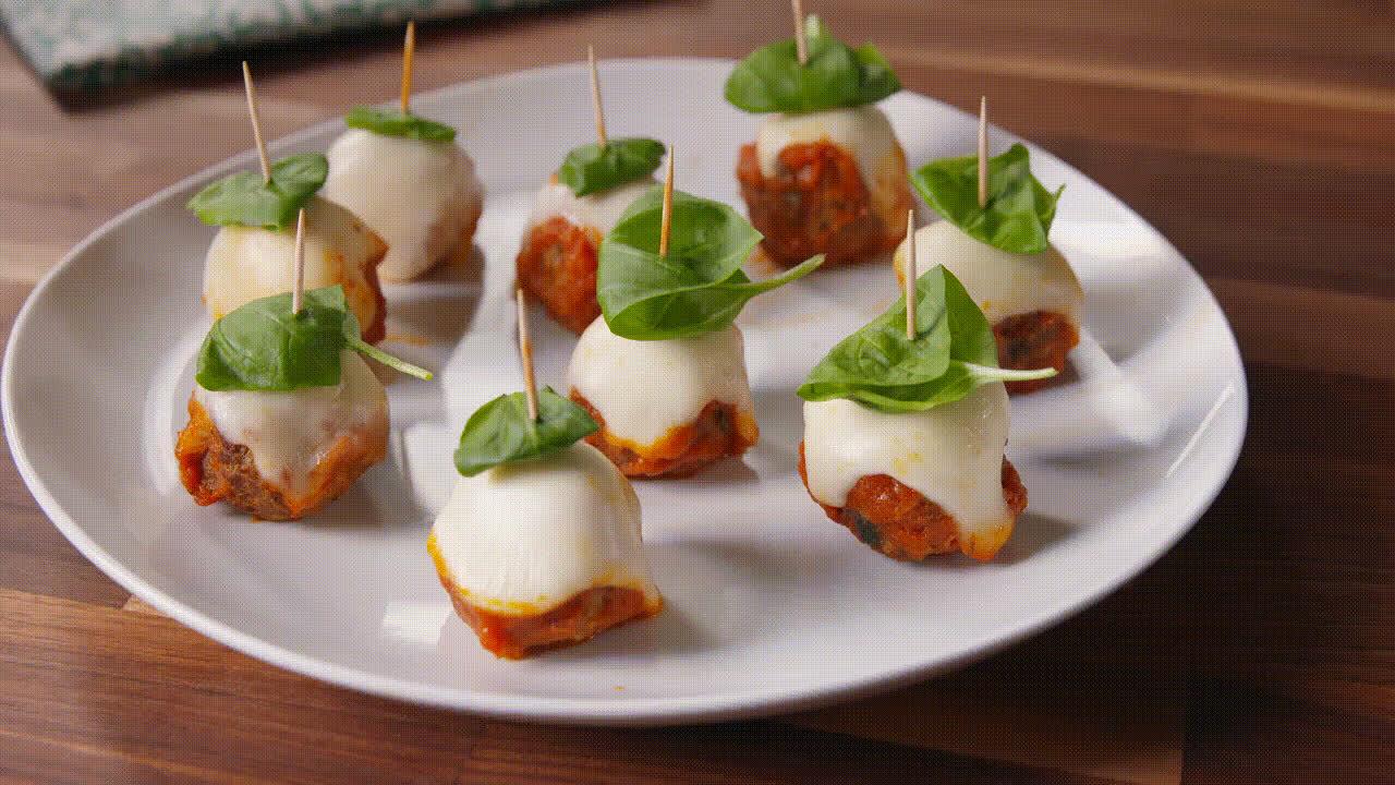 gifrecipes, ketorecipes, recipe, Meatball Parm Skewers GIFs