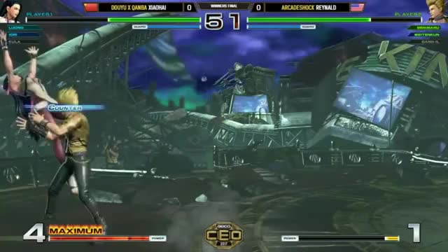 Watch CEO 2017 KOF14 TOP 8 - DOUYU X QANBA XIAOHAI vs ARCADESHOCK REYNALD GIF by @bzchoy on Gfycat. Discover more fgc, fighting, games GIFs on Gfycat