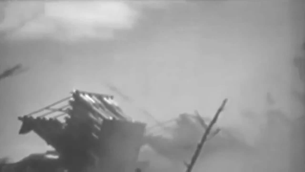 battle of iwo jima (military conflict), rocket (product category), ww2, USMC Rocket Trucks Fire Rockets On Iwo Jima, 03/02/1945 (full) GIFs