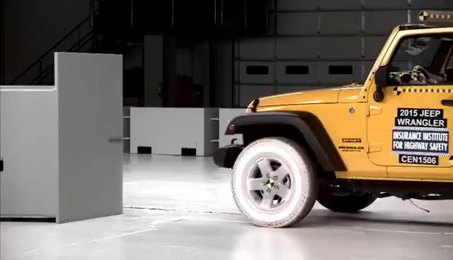Watch and share 2015 Jeep Wrangler 4-door Small Overlap IIHS Crash Test GIFs on Gfycat