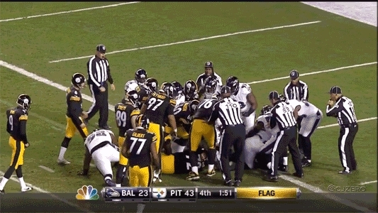 nygiants, Steelers P Brad Wing and K Shaun Suisham trying to help out in a scuffle was the best part GIFs